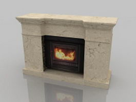 Marble gas fireplace 3d model preview