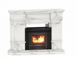 White marble fireplace 3d model preview