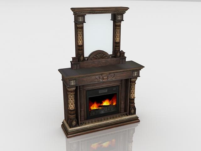 Antique dresser fireplace 3d rendering