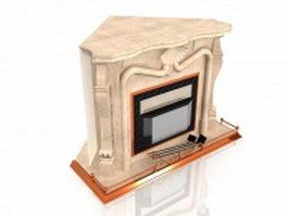 Corner fireplace design 3d model preview