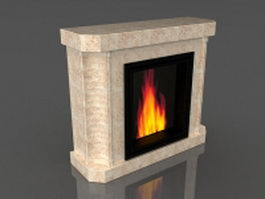 Ventless gas fireplace 3d model preview