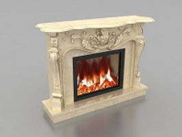 Hand carved marble fireplace 3d model preview