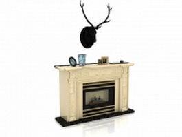 Deer head over fireplace 3d model preview