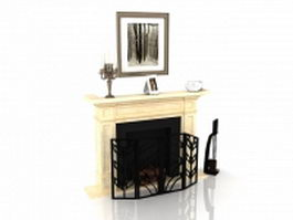 Beige fireplace with decorating design 3d preview