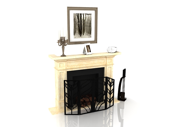 Beige fireplace with decorating design 3d rendering