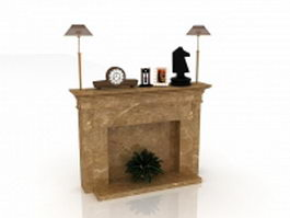 Marble fireplace mantel with lights and decorations 3d model preview