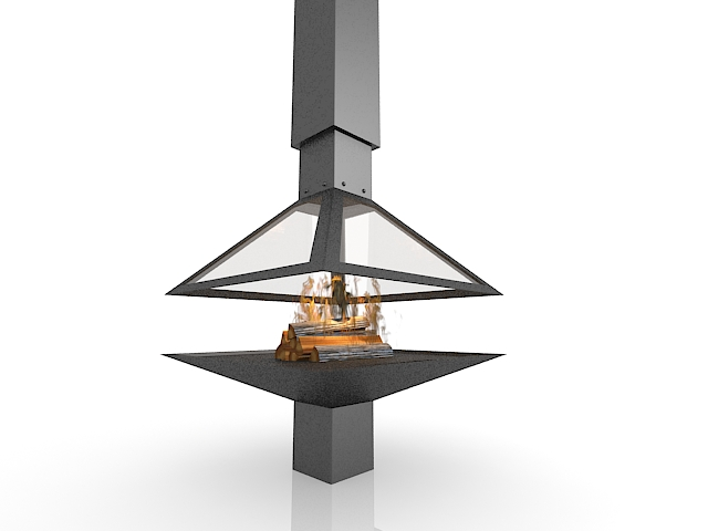 Modern gas stove fireplace 3d rendering