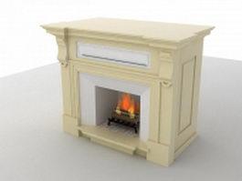 Limestone stone fireplace 3d model preview