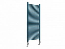 Blue radiator heater for home 3d model preview