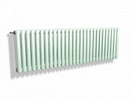Green painted radiator 3d model preview