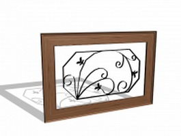 Wood radiator cover 3d model preview
