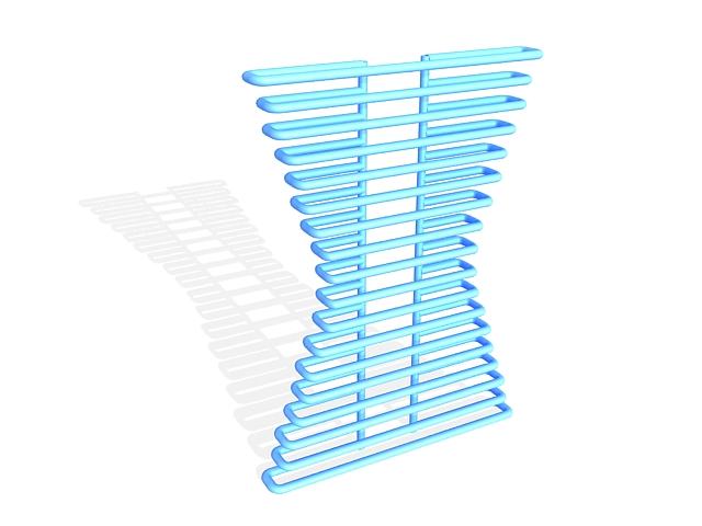 Blue designer radiator 3d rendering