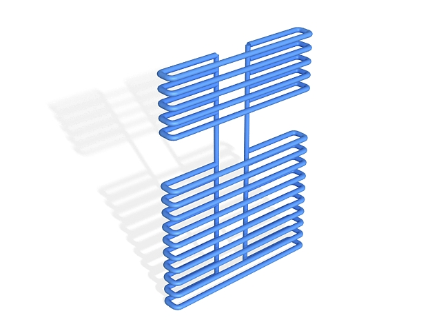 Blue towel warmer radiator 3d rendering