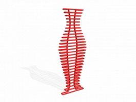 Red towel radiator 3d model preview