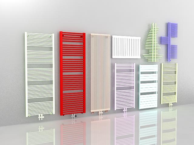 Painted radiators 3d rendering