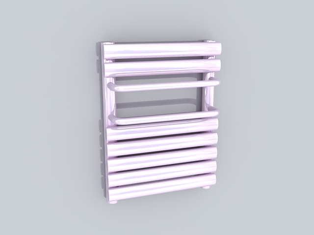 Pink towel radiator 3d rendering