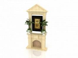 Greek revival fireplace 3d model preview