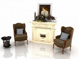 Living room fireplace interior design 3d model preview