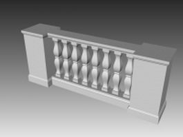 Balustrade baluster railing 3d preview