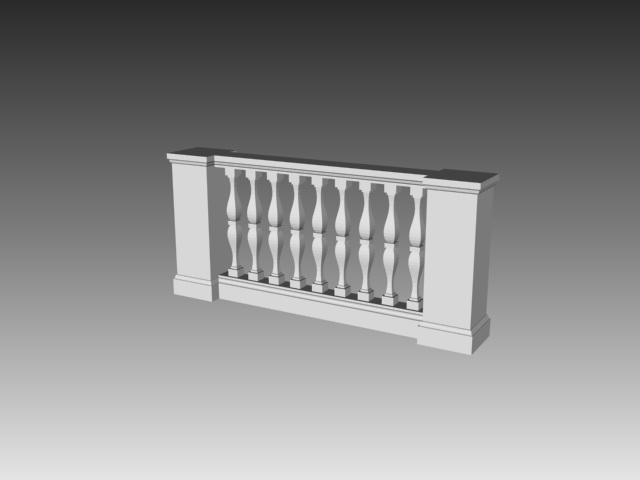 Baluster rail system 3d rendering