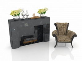 Living room fireplace 3d model preview