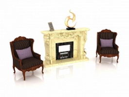 Living room fireplace and chairs 3d preview