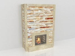 Stacked stone fireplace 3d model preview