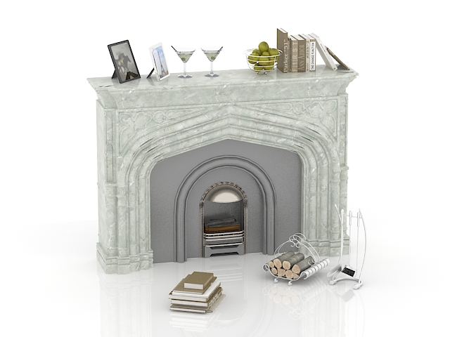 Stone fireplace decorations 3d rendering
