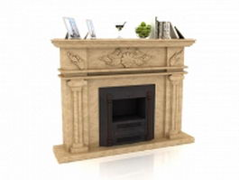 Victorian fireplace with mantel decorations 3d model preview