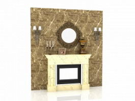 Fireplace feature wall 3d model preview