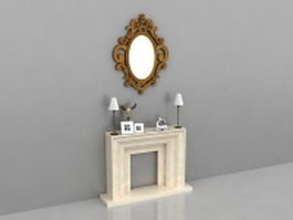 Fireplace accent wall designs 3d model preview