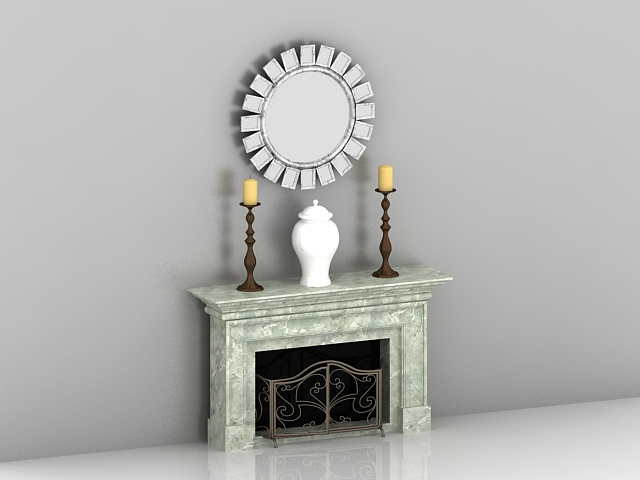 Fireplace with mantel decorations 3d rendering