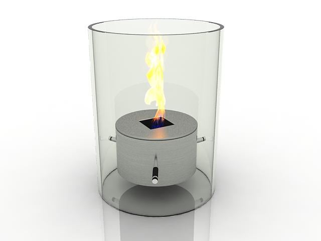 Glass fireplace heater 3d rendering