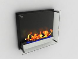 Glass ethanol fireplace 3d preview