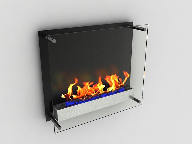 Glass ethanol fireplace 3d rendering