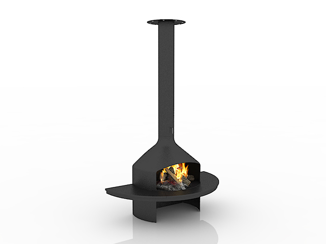 Fireplace wood burning stove 3d rendering