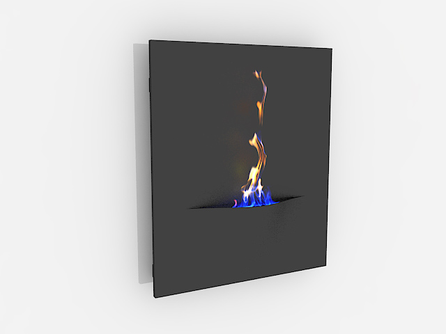Wall mount electric fireplace 3d rendering
