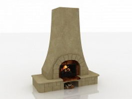 French country style fireplace 3d preview
