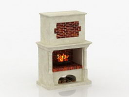 Painted brick fireplace 3d preview