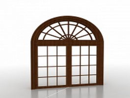 French casement arched window 3d preview