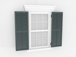 White windows with shutters 3d preview