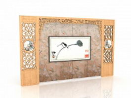 Chinese style accent wall 3d preview