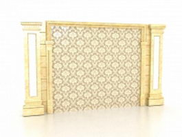 Indoor marble feature wall 3d preview