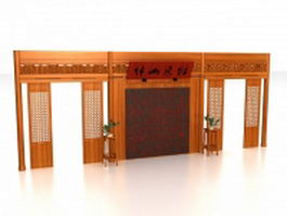 Chinese room divider wall 3d preview