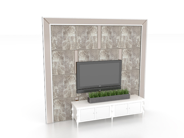 TV feature wall design 3d rendering