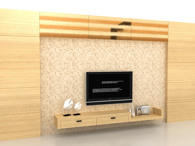 Wood TV accent wall 3d rendering