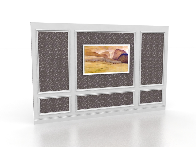 Wood feature wall 3d rendering