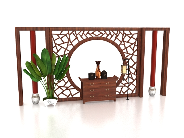 Antique Chinese feature wall 3d rendering