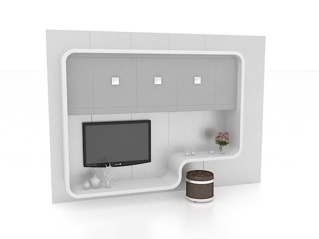 White TV feature wall 3d rendering