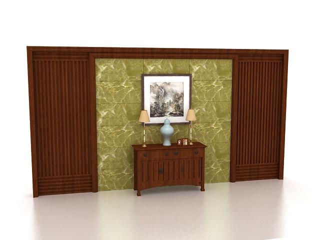 Brown feature wall bedroom 3d rendering